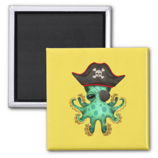 Cute Green Baby Octopus Pirate Magnet