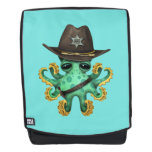 Cute Green Baby Octopus Sheriff Backpack