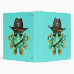 Cute Green Baby Octopus Sheriff Binder