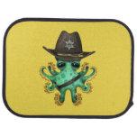 Cute Green Baby Octopus Sheriff Car Floor Mat