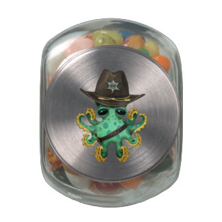 Cute Green Baby Octopus Sheriff Jelly Belly Candy Jars