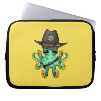Cute Green Baby Octopus Sheriff Laptop Sleeve