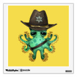Cute Green Baby Octopus Sheriff Wall Decal