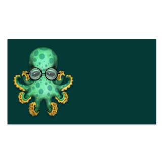 Cute Green Baby Octopus Wearing Glasses on Teal Business Card Templates