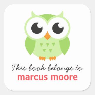 Cute green baby owl animal cartoon bookplate book