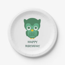 Cute Green Baby Owl-Happy Birthday Paper Plate