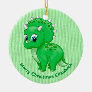 Cute Green Baby Triceratops Dinosaur Ceramic Ornament