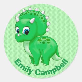 Cute Green Baby Triceratops Dinosaur Classic Round Sticker