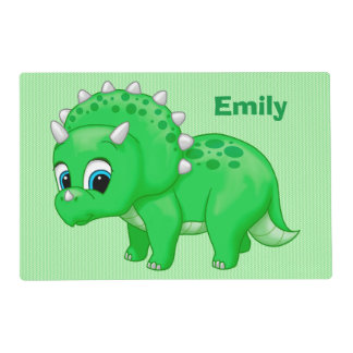 Cute Green Baby Triceratops Dinosaur Placemat