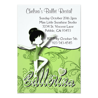 Cute Green Ballerina Girl | Ballet Dance Recital Card