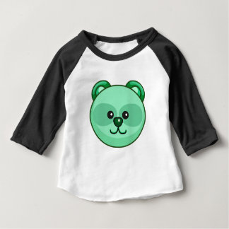 Cute Green Bear Cartoon Black Customizable Baby Baby T-Shirt