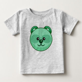 Cute Green Bear Cartoon Grey Customizable Baby Baby T-Shirt