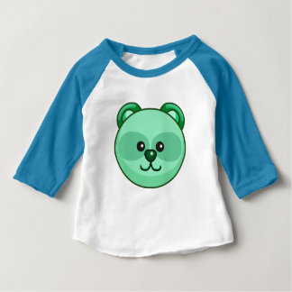 Cute Green Bear Cartoon Neon Blue Custom Baby Baby T-Shirt