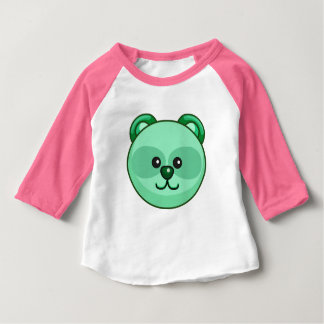Cute Green Bear Cartoon Pink Custom Baby Baby T-Shirt