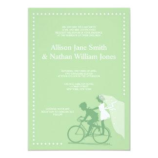 CUTE Green Bicycle Couple Wedding Invitation