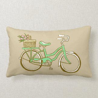 Cute Green Bicycle with Tulips Lumbar Pillow