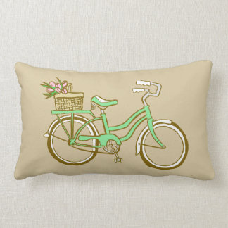 Cute Green Bicycle with Tulips Throw Pillow