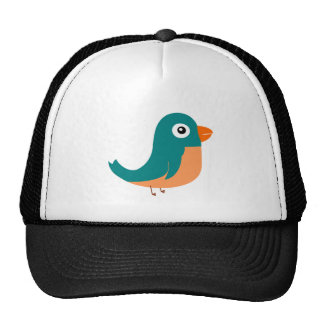 Cute green bird animation illustration trucker hat