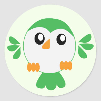 Cute Green Bird Classic Round Sticker