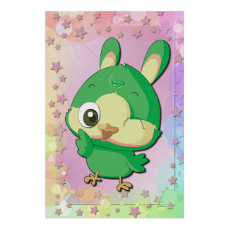 Cute Green Bird Funny Cartoon Character Poster