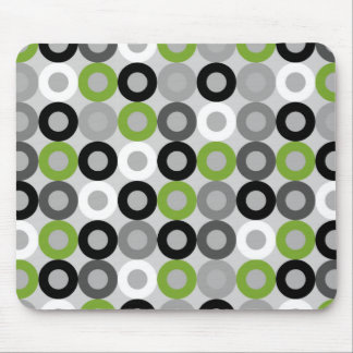 Cute green black and white dots vector pattern mouse pad