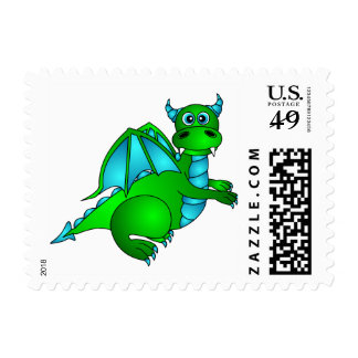Cute Green & Blue Dragon Postage