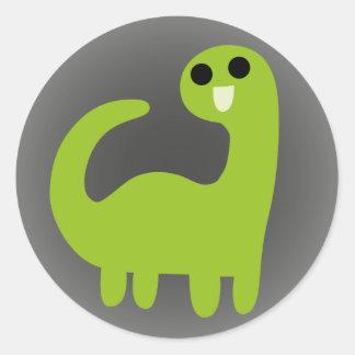Cute Green Brontosaurus on Grey Classic Round Sticker