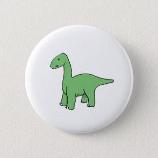 Cute Green Brontosaurus Pinback Button