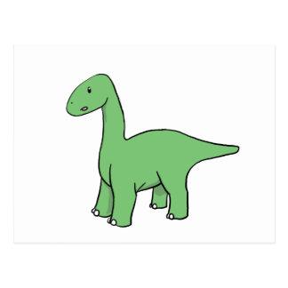 Cute Green Brontosaurus Postcard