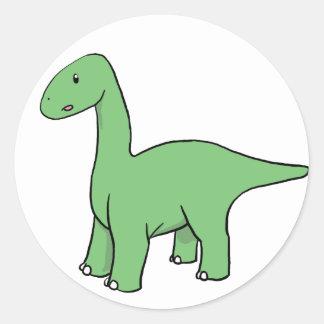 Cute Green Brontosaurus Round Sticker