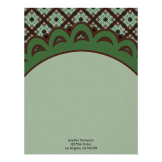 Cute green brown crisscross pattern letterhead