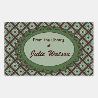 Cute green brown pattern bookplates