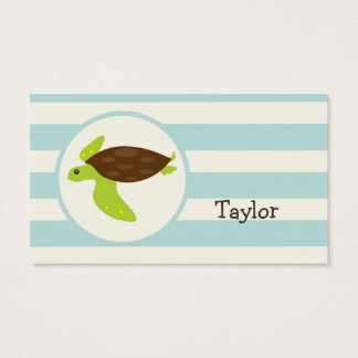 Cute Green & Brown Sea Turtle; Robins Egg Blue Business Card