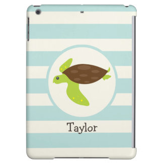 Cute Green & Brown Sea Turtle; Robins Egg Blue iPad Air Cases