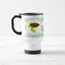 Cute Green & Brown Sea Turtle; Robins Egg Blue Travel Mug