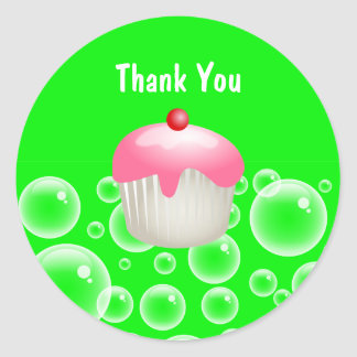 Cute Green Bubbles Party Cupcake Thank You Seal Classic Round Sticker