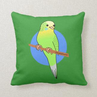 Cute Green Budgie Forest Green Cushion Throw Pillow