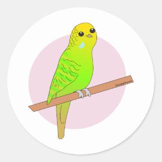 Cute Green Budgie Round Sticker
