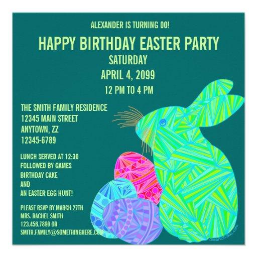 Cute Green Bunny Fun Easter Theme Birthday Invite
