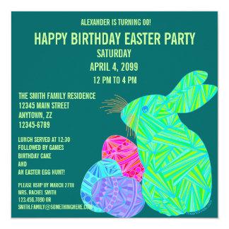 """Cute Green Bunny Fun Easter Theme Birthday Invite 5.25"""" Square Invitation Card"""