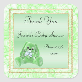 Cute Green Bunny Thank You Baby Shower Square Sticker