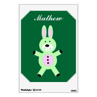 Cute green bunny wall decal