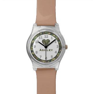 Cute GREEN Camo Heart Custom Name V6 Wrist Watches
