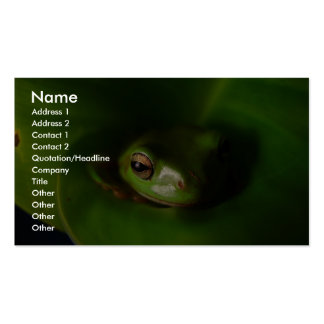 Cute Green Candid Frog Hiding In The Leaves Business Card Template