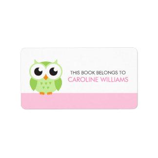 Cute green cartoon baby owl bookplate book label