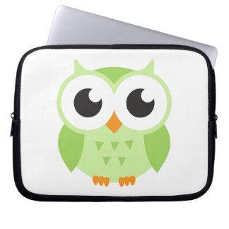 Cute green cartoon baby owl laptop computer sleeves