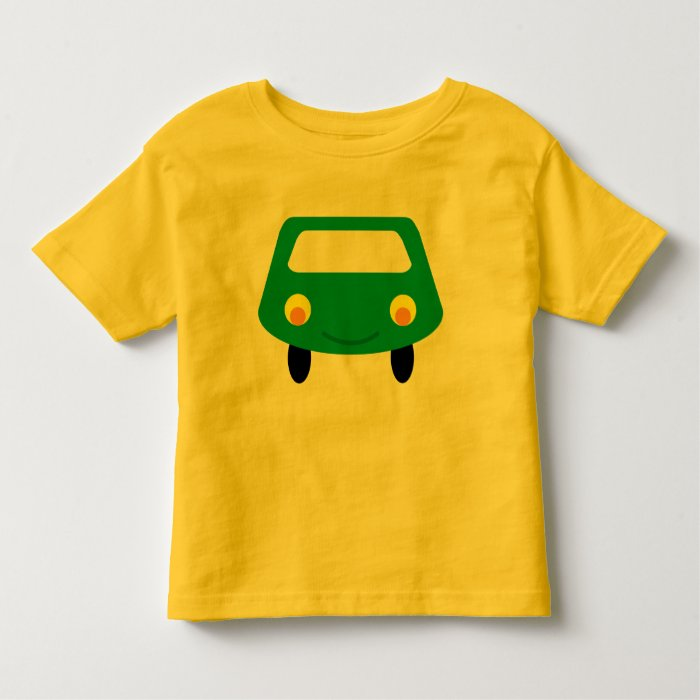 Cute green cartoon car yellow toddler tee shirt