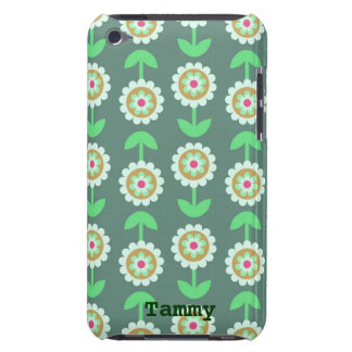 Cute Green Cartoon Flowers iPod Touch Cover