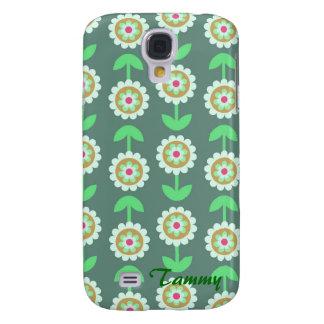 Cute Green Cartoon Flowers Samsung Galaxy S4 Cover