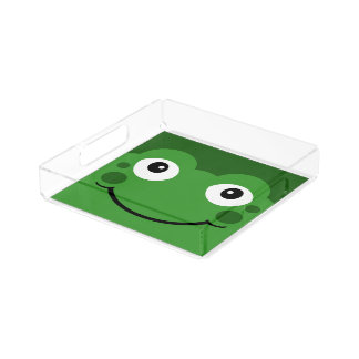 Cute Green Cartoon Frog Face Serving Tray Square Serving Trays